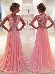 Wholesale Lace Bodice Special Occasion Dresses - Elegant Pink Sheer Prom Dresses 2016 Lace Bodice V Neck Long Chiffon Prom Dress Special Occasion Women Party Gowns Vestidos de Festa Curto