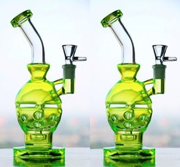 Wholesale cheap blown glass pipes - Fluorescence Green Skull Oil Rigs Glass Bongs Newest Fab Egg Glass Bong Hookahs Cheap Hand Blown Water Pipes