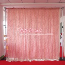 Wholesale Hotel Drapery Rods - 10ft*10ft Pink Flocking Organza Backdrop Curtain For Wedding Decoration
