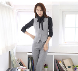 New Style Grigio Nero Gilet e pantaloni Set per abiti da donna Lady Suit Office Vest Elegante Slim business pantaloni Set formale usura da
