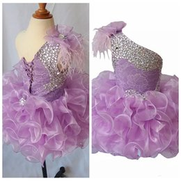 Wholesale Lace Feather Toddler Dress - 2018 One Shoulder Pageant Organza Tutu Dress Toddler Girls Ruffles Crystal Short Mini Ball Gowns Infant Feather Adorn Birthday Party Dresses
