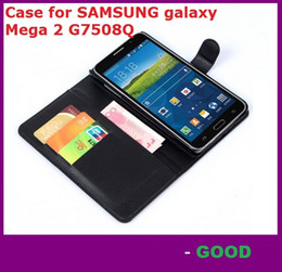 Wholesale Galaxy Mega Leather - Leather Case for SAMSUNG galaxy Mega 2 G7508Q holster Wallet Cases Folio Book Cover with Kickstand Credit Card Holder cases 200pcs dhl