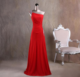 Wholesale Red One Shoulder Bridesmaid Dresses - Custom-made Red Chiffon One Shoulder Bridesmaid Dresses With Crystals Floor Length Group Maid Of Honor Dress Women Formal Party Dress
