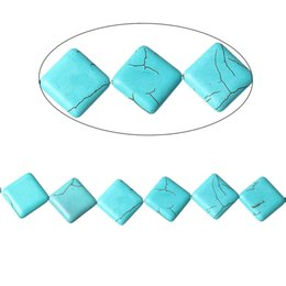Wholesale Agate Loose - Turquoise manmade Loose Beads Rhombus Malachite green Crack About 22x22mm,Hole:1.5mm,42cm,1 Strand(About 19 PCs) 2016 new