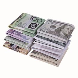 Wholesale Photo Free Prints - Fashion Design ! Unisex Currency Money Print Wallet US Dollar Pound Yen Bill Pattern Purse Bifold Credit Card Holder Women Man Free Shipping