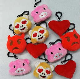 Wholesale Small Pig Plush - 500pcs New 5.5cm 2.16inch Emoji Monkey love Pig Small Keychain Emotion QQ Expression Stuffed Plush Doll Toy for Mobile Pendant Free Shipping