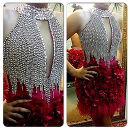 Wholesale Evening Gowns Fur - Sexy Short Red Feather Cocktail Dresses Keyhole Neck Crystal Sheath Evening Gowns Sleeveless Beaded Mini Party Dress