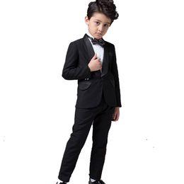 Wholesale Childern New Dress - Wholesale-Boys Performance Costume Black Blazers Suit Childern Boy Dress Clothes Formal Prom Communion Party Suits Wedding Attire 2016 New