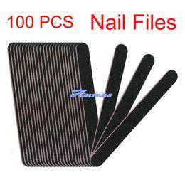 Wholesale Nail File Buffing Blocks - Wholesale- 100 PCS Black Round Nail File Nail Art Sanding Files Buffing Block Grit Tools Set