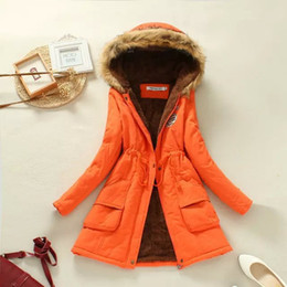 Wholesale Woman Winter Coat Dark Blue - 2016 Hot Sale Autumn Winter Women Coat Slim Warm Jacket Manteau Femme Long Jacket Hooded Cotton Coats
