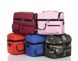 Wholesale Lunch Compartment - picnic lunch bag insulated cooler bag two compartments lunch box, 24x16x22cm