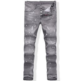 Wholesale Printed Skinny Jeans 28 - Top Fashion Summer Spring Oil Painted Washed Jeans Men's Cool Light Gary Distressed Skinny Slim Fit Denim Size 28-36 Free Shipping #1885