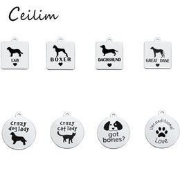 Wholesale Boxer Charms - New Fashion Stainless Steel Bulk Lab Boxer Dachshund Dog Charms Animal Metal Charms With Dog Footprint Jewelry Pendants Jewelry Making 2017