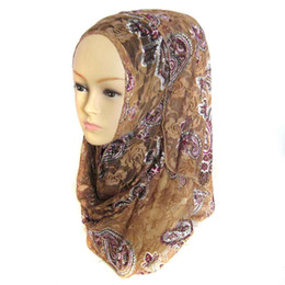 Wholesale Wholesale Lace Shawl Scarves - Muslim Hijabs New Fashion Women's Printed Lace Shawls Mix Color Hijab Head Wrap Scarves phwj49