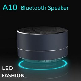 Wholesale Computers Portable Sale - A10 Metal mini Llight up Bluetooth Speaker disco Handsfree Subwoofer Wireless Music Sound Box with Micro SD TF Card on sales