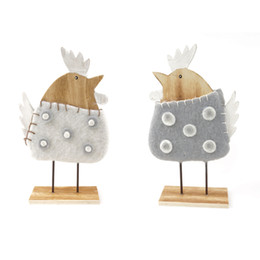 Wholesale Bird Pair - 2016 new wood bird decoration a pair of white hen home decoration wood room ornaments free shipping