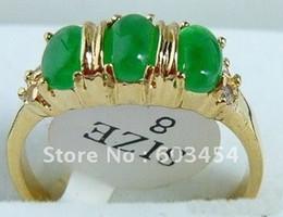 Wholesale 18k Jade Ring - Emerald green jade 3 Bead 18KGP Ring size: 7.8.9  Free Shiping 1Pcs