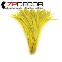 Wholesale Yellow Rooster Feathers - ZPDECOR 40-45cm(16-18 inch) Good Quality Super Long Cheap Dyed Yellow Rooster Tail Feathers for Headdress Design DIY Craft Decoration