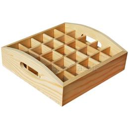 teléfonos de casa de lujo Rebajas Cajas de almacenamiento de aceite esencial de la nueva bandeja de madera llenada 25 agujeros botellas de 5-10 madera de pino natural sin pintura F007021 Comercio mayorista personalizable
