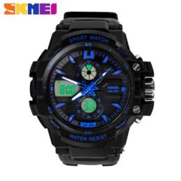 Wholesale Men S Sports Dive Watch - New S Shock Fashion Watches Men Sports Watches Skmei 2 Time Zone Digital Quartz electronic LED dive Military wristwatches