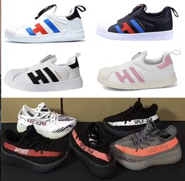 Wholesale Running Kid - 2018 Best kids SPLY 350 V2 boost Superstar baby shoes sneakers boys girls Running Sports child toddlers drop shipping