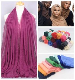 Wholesale Wrinkle Long Scarf - 41 Colors 180*95cm Women Cotton Linen Plain Wrinkle Hijab Scarf Muslim Muffler Fashion Long Shawls Head Wraps Pashmina CCA7066 300pcs