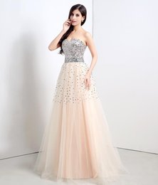 Wholesale Sparkle Prom Dress Stock - Sparkle Long 2016 A-Line Sweetheart Prom Gowns with Sequins Tulle Cheap Formal Party Dresses Lace Up In Stock