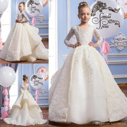 Wholesale Girls Formal Shirts - White Beading Flower Girls Dresses V-Neck Long Sleeves Pageant Gowns For Wintter Sweep Train Bow Tiered With Applique Formal Party Gowns