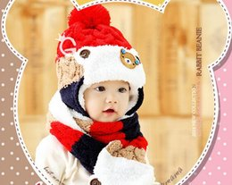 Wholesale Hat Scarf Bear Pink - Hot style han edition baby bear three color earmuffs two woolly hat + scarf add wool suit children's hat