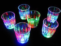 Wholesale Party Beverage - Colorful Led Cup Flashing Shot Glass Led Plastic Luminous Cup Neon Cup Birthday Party Night Bar Wedding Beverage Wine flash small cup