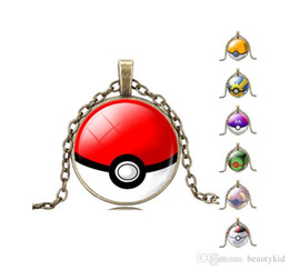 Wholesale Necklaces For Pictures - Hot Anime Glass Dome Jewelry Eevee Pokeball Necklace Poke Go Pendant Personalized Picture Necklace for Women Girls PKC026