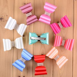 Wholesale Hot Shiny Girls - Wholesale-hot sale shiny hairpin 16 colors women girls fashion Hair accessories Solid 3D bowknot with clip Super Hard PVC Satin Bows
