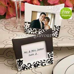 Wholesale Wholesale Wedding Favors Picture Frames - 40pcs lot , Wedding Favors! Damask design mini picture photo frames place card holders favors wedding gifts