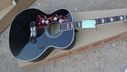 Wholesale Acoustic Black Guitar Eq - Left Handed J200 Guitar in Black Spruce Top Maple Sides & Back with Fishman 101 301 EQ Acoustic Electric Guitar Free Shipping