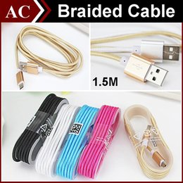 Wholesale Wholesale Long Iphone Cable - 5FT 1.5M Long Strong Fabric Nylon Braided Micro USB Charging Cable Line For Smart Phones Samsung HTC Sony LG Best Wire With Metal Head Plug
