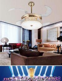 Wholesale Minimalist Ceiling - LED crystal folding fan lamp crystal ceiling light modern minimalist living room dining room bedroom ceiling fan lights 42inch MYY