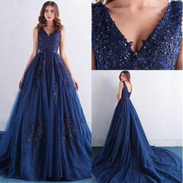 Wholesale White Formal Dresses For Sale - Elegant Sequin Beaded Dark Navy A Line Evening Dresses V Neck Low Back Lace Appliques Formal Evening Gowns For Sale 2017 Fall Winter