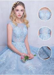 Wholesale Ice Wave - 2018 Vintage Ice Blue Princess Wedding Dresses Illusion Neckline Lace Sexy Zipper Back Modest Plus Size Bridal Gowns Cheap
