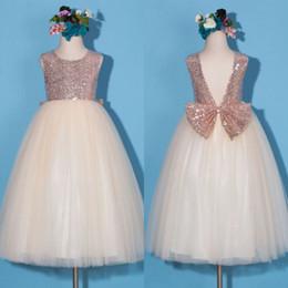 Wholesale Girls Black Top Bow - Rose Gold Sequined Top Floor Length Flower Girl Dresses Long Formal Backless Jewl Neck Sleeveless Tulle Skirt Kids Pageant Gowns Weddings