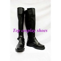Wholesale Hatsune Miku Shoes - Wholesale-Freeshipping VOCALOID Hatsune Miku Kimono Black PU Leather Cosplay Shoes boots #GAI073
