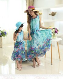 Wholesale Vacation Dresses - 2017 Mother and Daughter Dress matching clothes with Belt Long Maxi Summer Vacation Dresses Family Beach Dress Chiffon Girls women Dress
