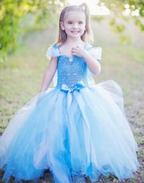 Wholesale Infant Fairy - Fairy tale princess blue off shoulder bow tulle flower girls beads cupcake pageant dresses kids toddler glitz prom Infant ball gowns