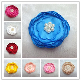 Wholesale Satin Poppy Flowers - 2016 NEW fashion hot DIY Fabric Handmade Flowers Matching Pearls Satin Poppy Layered Flower Baby Girl Hair Accessory Without Hair Clip ff004