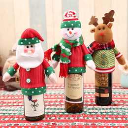 Wholesale Knitted Bottle Cover - Christmas Gift Wraps Santa Claus Deer Pattern Knitting 3 Styles Ornaments Xmas Wine Bottle Cover Bag Dinner Party Table Decor