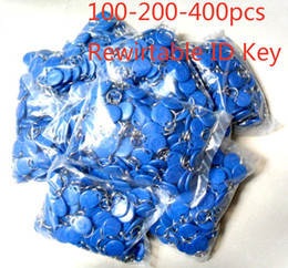 Wholesale Rfid Smart Tags - free shipping 100pcs blue color blue Rewitable RFID key fobs 125KHz proximity ABS key tags for access control TK4100 EM 4100 chip
