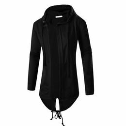 Wholesale outerwear sweatshirt - Fashion Autumn Black White Cloak Hooded Sweatshirt Hoodie Men Streetwear Hip Hop Long Hoodies Clothing Mens Outerwear Cardigan M-3XL