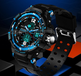 Wholesale Dive Watch Men For Military - Male Fashion Sports Military Wristwatches 2017 New SANDA Watches Men Luxury Brand 3ATM 30m Dive LED Digital Analog Quartz Watch For mens