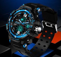 Wholesale Divers Watch Analog Digital - Male Fashion Sports Military Wristwatches 2017 New SANDA Watches Men Luxury Brand 3ATM 30m Dive LED Digital Analog Quartz Watch For mens