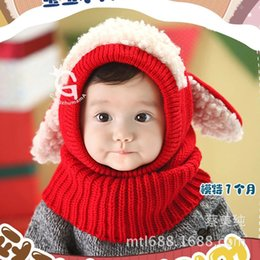 Wholesale Crochet Puppy Hats - DHL free shipping children hats caps winter puppies Siamese caps wool baby boy girl kids Shawl collar 2016 new hot sale wholesale