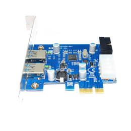 Wholesale Pci Internal Usb - Freeship 4 Port PCIE PCI-e to USB 3.0 (2 x Type A+ 20 Pin Internal) Expansion Card Hub Controller PCI Express Card Adapter w  Molex Power